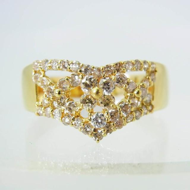 【中古】K18 ダイヤモンド リング 25号 [f325-1]