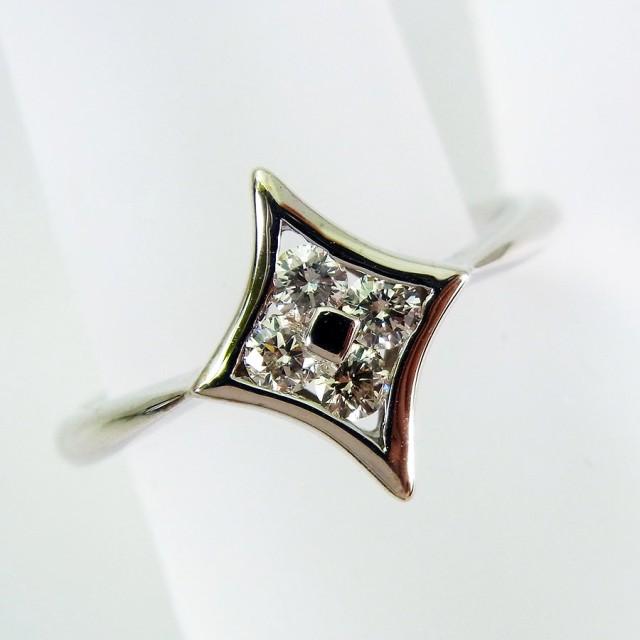 【中古】K18WG ダイヤモンド リング 10.5号 [f176...