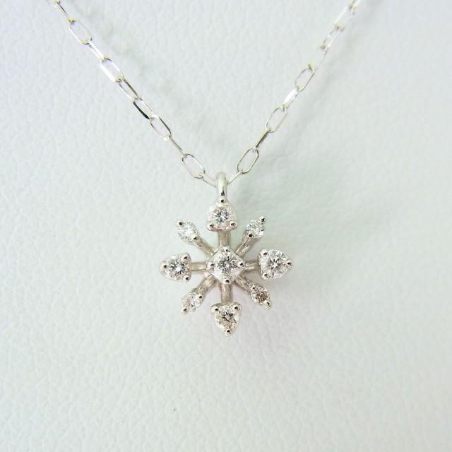 【中古】4℃ K18WG ダイヤモンド ペンダント[f36...