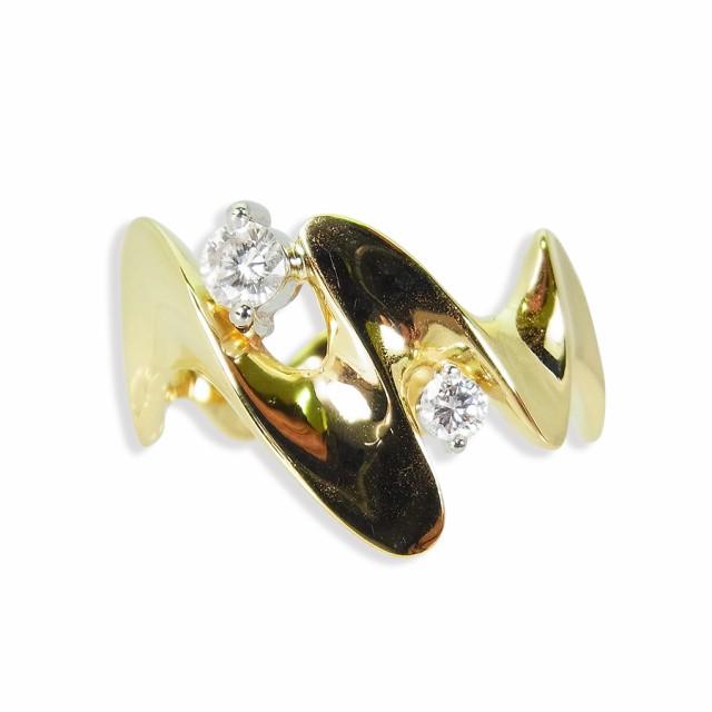 【中古】K18 ダイヤモンド リング 15.5号[f385-2]...