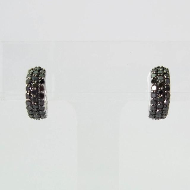 【中古】K18WG ブラックダイヤモンド パヴェ ピア...