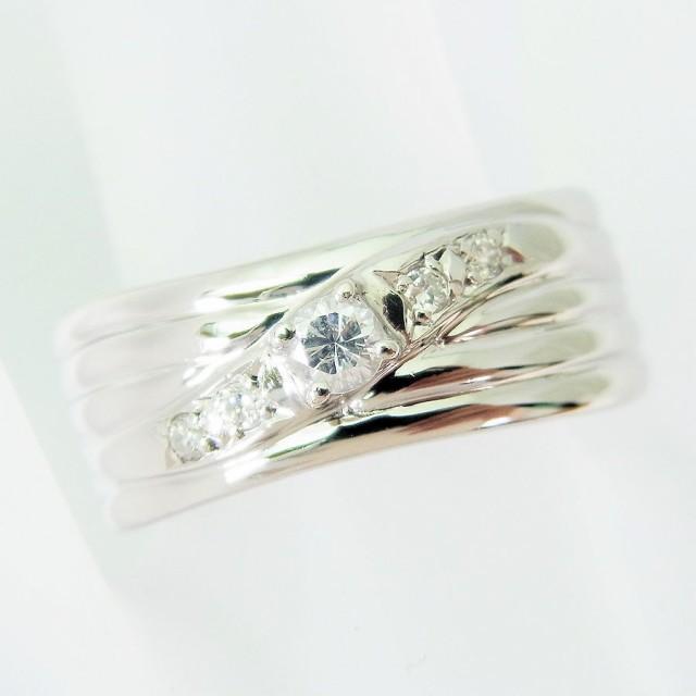 【中古】PT900 ダイヤモンド リング 11号 [f222-4...