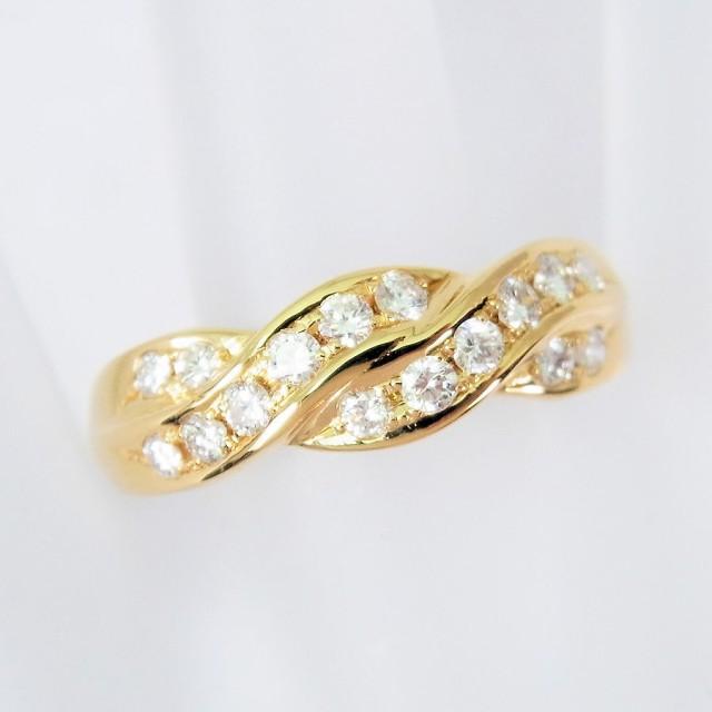 【中古】750 ダイヤモンド リング 15号[f353-4]...