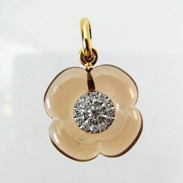 【中古】750 ダイヤモンド クォーツ ペンダント ...