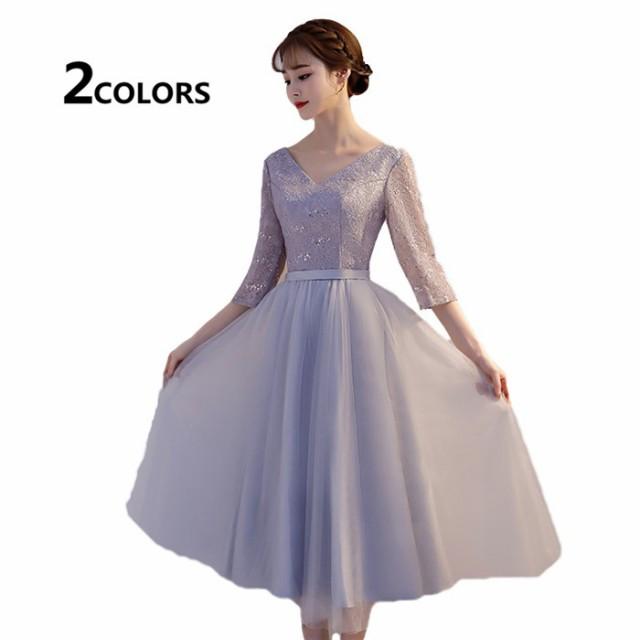 レディース Vネック   ミディアムドレス 大きい...