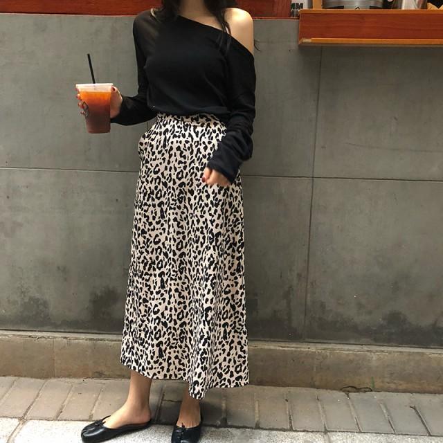 【お取り寄せ】レオパード柄 ロングスカート Aラ...