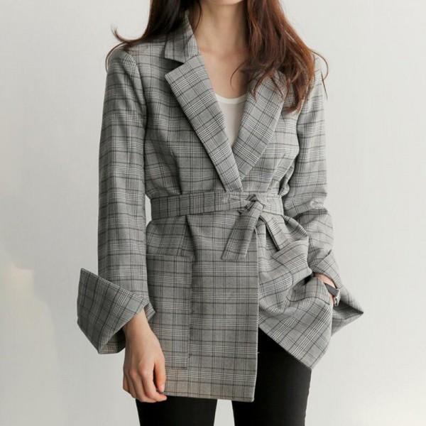 通勤 スーツジャケット カジュアル リボン ロング...