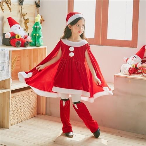 子供用 ドレス サンタ | コスチューム コスプレ  衣装 キッズ  ワンピース クリスマス 子供 なりきりワンピース ハロウィン衣装 LU04