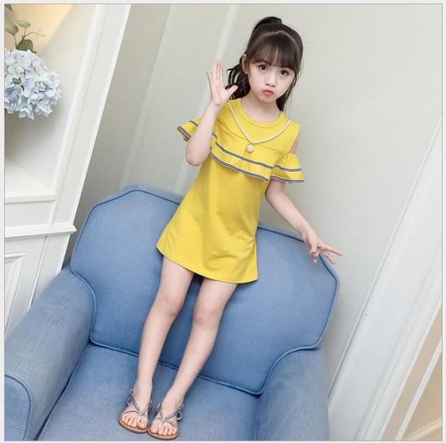 韓国子供服 女の子 夏着 半袖 ワンピース レジャ...