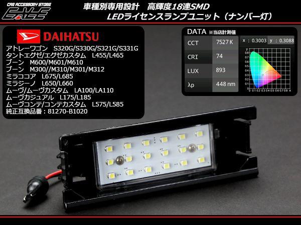 タント エグゼ カスタム L455 L465 LED ライセン...