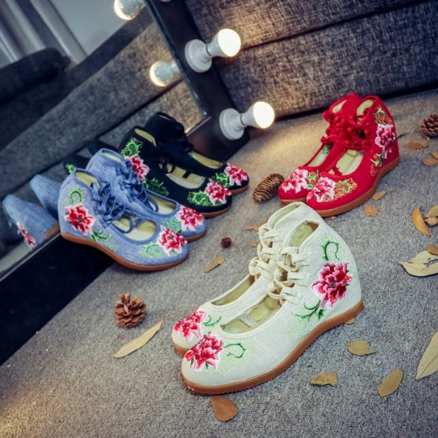 特価!麻 インヒール【中国北京靴】唐装漢服に合...
