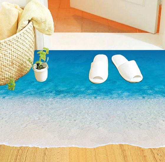 ウォールステッカー 青い海の砂浜 フロア用シール...