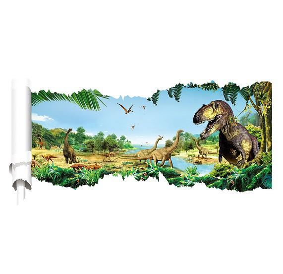 ウォールステッカー 恐竜 絵巻物 壁紙シール ジュ...