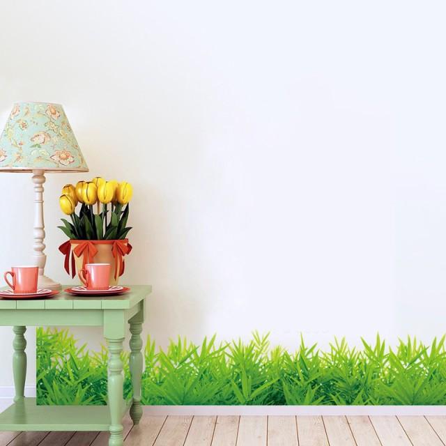 ウォールステッカー 青々と生い茂った草むら 壁紙...