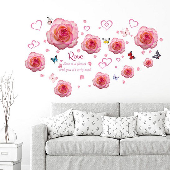 ウォールステッカー ピンクの薔薇の花と蝶々 壁シ...