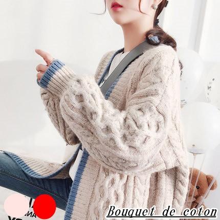 ざっくりケーブル編みが可愛いニットコーディガン...