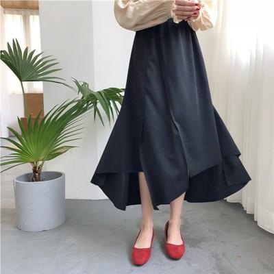 ロング 秋 新作 レトロ 不規則 シンプル 黒 ドレ...