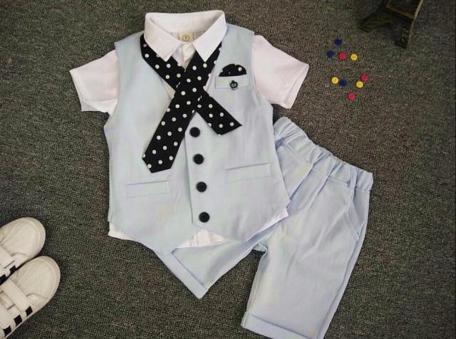 子供スーツ 2点セット チェック柄 半袖シャツ+短...