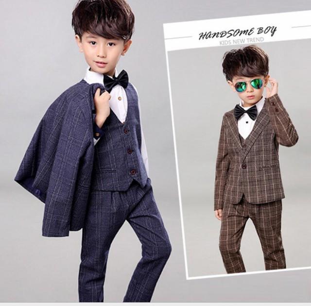チェック柄 子供スーツ 韓国 男の子 スーツ 5点セ...