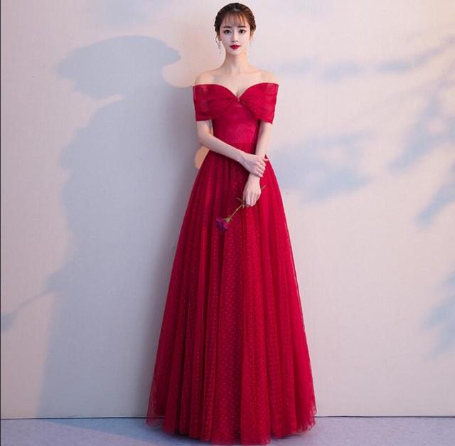 オフショルター 優雅 ロングドレス 半袖 カラード...