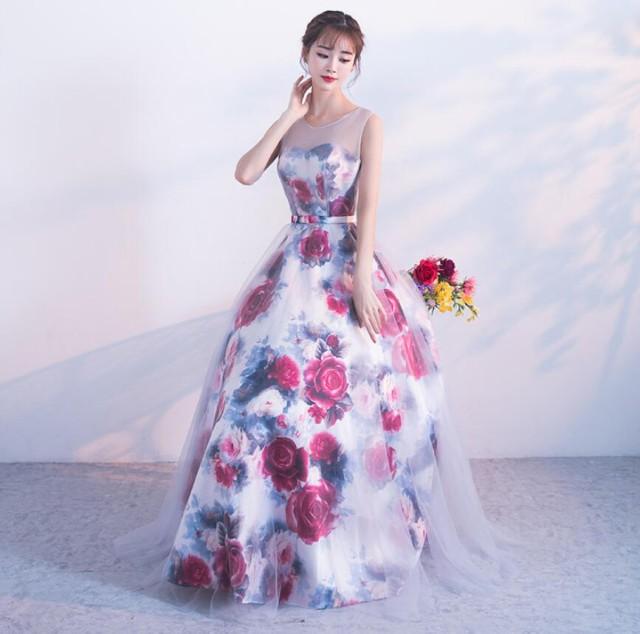 花柄 Formal dress フェミニン ロングドレス 袖な...