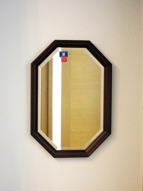 日本製 八角 ウォールミラー ブラウン 鏡 ミ...