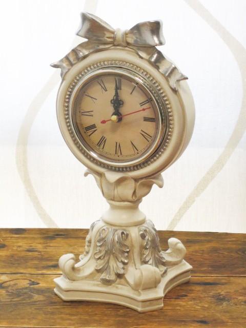 シルバーリボン 時計 置時計 樹脂製