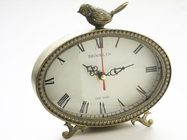 ゴールド バードクロック オーバル 時計 置時...