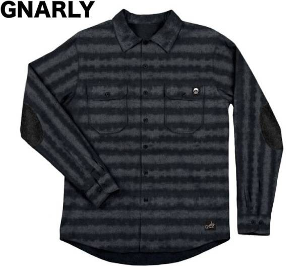 Gnarly Striped Long Sleeve Flannel Black/Grey ...