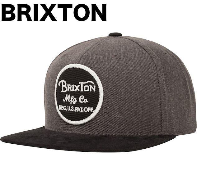 Brixton Wheeler Snapback Hat Cap Charcoal/Blac...