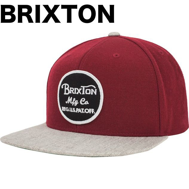 Brixton Wheeler Snapback Hat Cap Burgundy/Ligh...