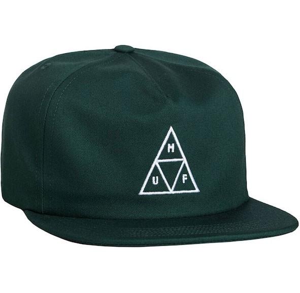 HUF Triple Triangle Snapback Hat Cap Dark Gree...