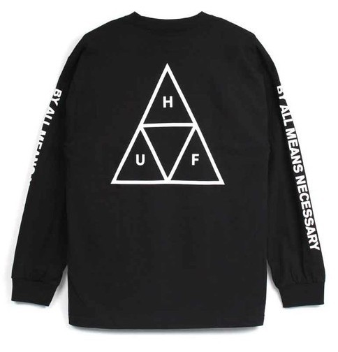 HUF Essentials Triple Triangle L/S T-Shirt Bla...