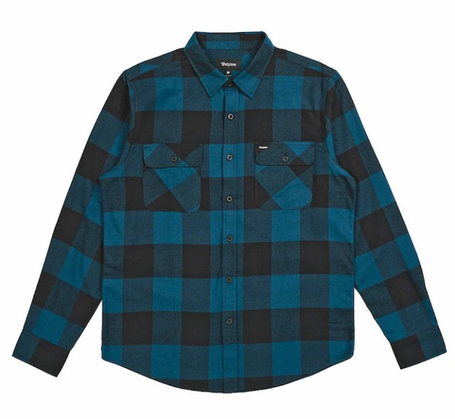 Brixton Bowery L/S Flannel Shirt Black/Teal S ...