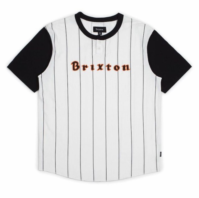 Brixton Proxy Knit Henley T-Shirt Black/Off Wh...