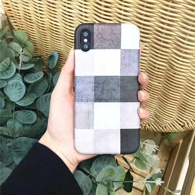モノトーン チェック 可愛い iPhone シェルカバー...