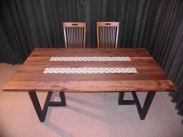 Z-049 A◆ウォールナット デザインテーブル 長さ1...