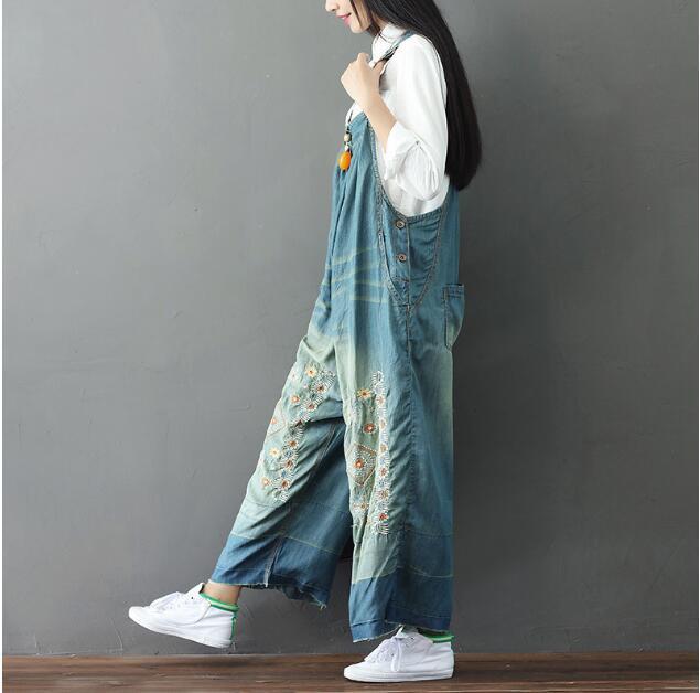 大きなサイズ 女性 刺繍 ビブパンツ 女性大きなサ...