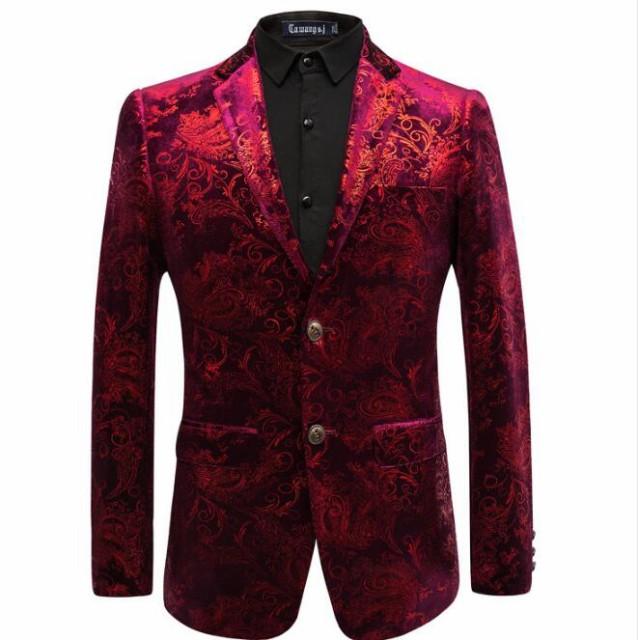 赤いジャケット メンズスーツ パーティースーツ ...