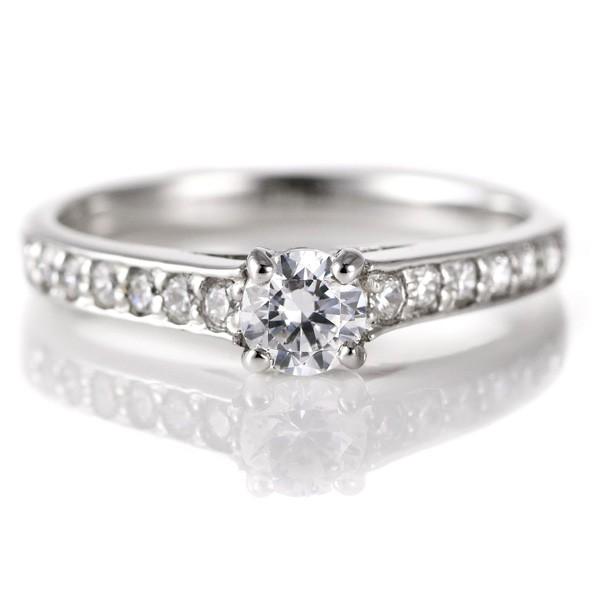 婚約指輪 ダイヤモンド ダイヤ プラチナ リング 0...