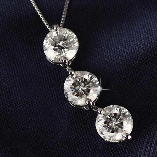 ネックレス スリーストーン ダイヤモンド ネック...