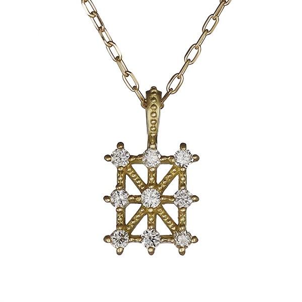 ネックレス ダイヤモンド シンプル K18イエローゴ...