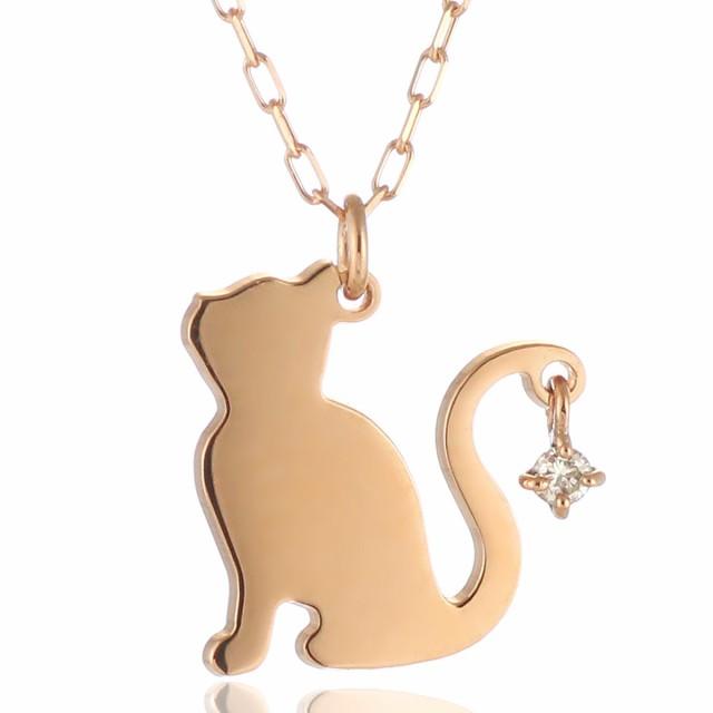 ダイヤモンド ネックレス ピンクゴールド 猫