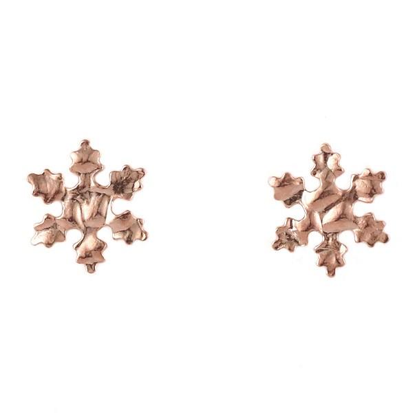 ピアス K10 ピンクゴールド 10金 雪の結晶 シンプ...