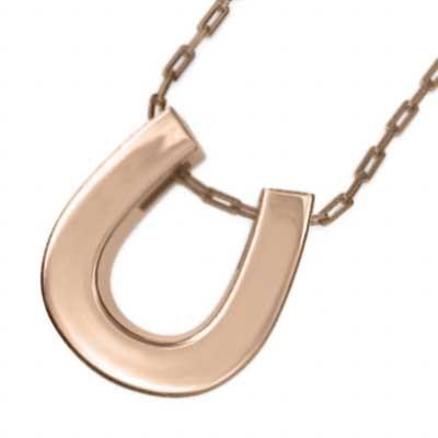 馬蹄 シンプル ネックレス 18金ゴールド 大サイズ...