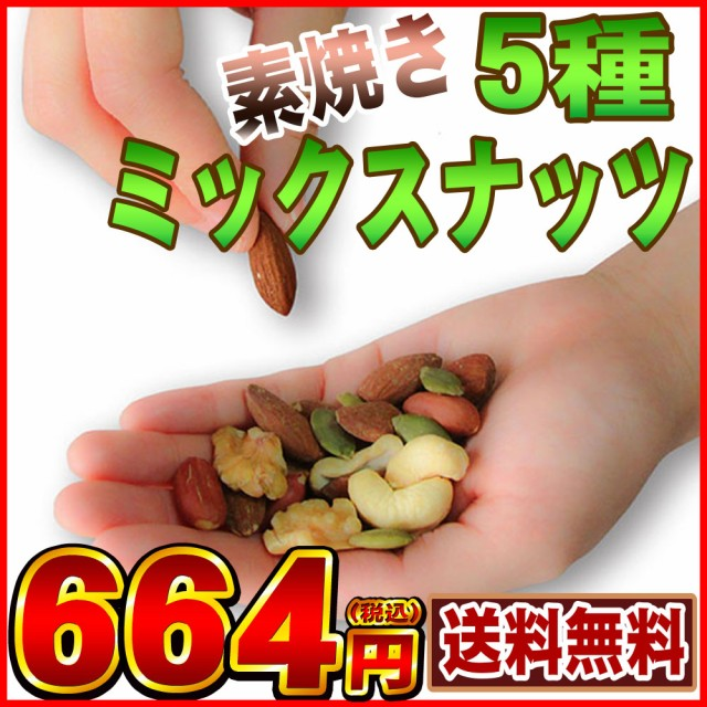 送料無料 厳選5種 素焼き ミックスナッツ 200g【...