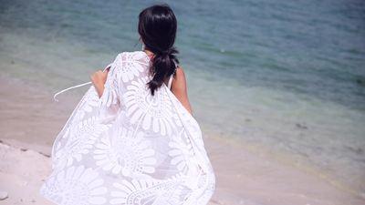 レディスファッション 水着 モノキニ ホワイト ブ...