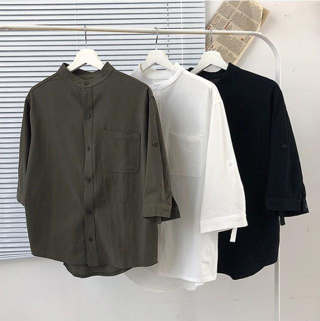 メンズ トップス シャツ 五分袖 スタンドカラー ...