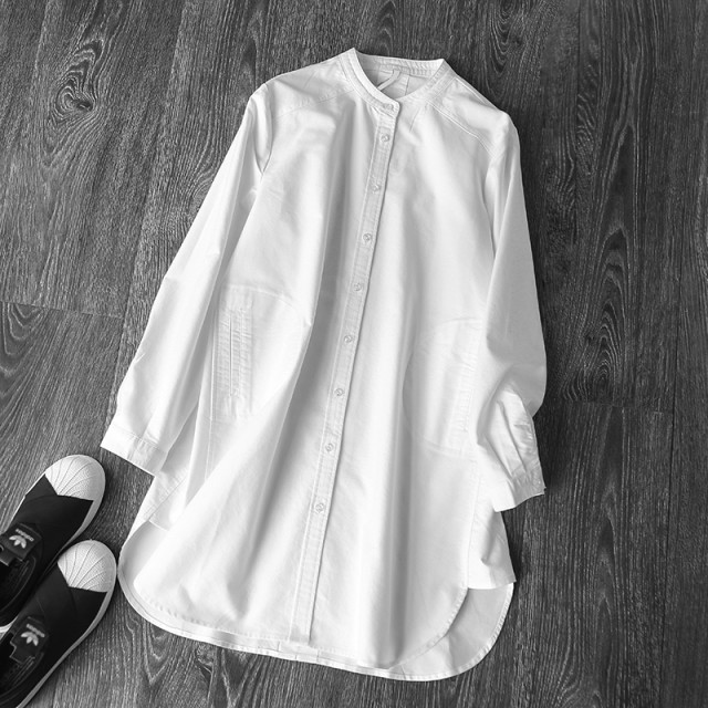 シャツ ノーカラー オーバーサイズシャツ 白 ...