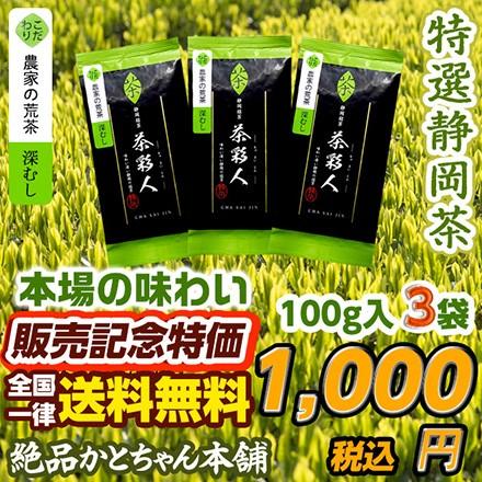 絶品 深むし茶100g x 3袋セット お茶の王国 静岡...